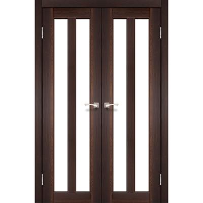 Межкомнатная двойная дверь Torino TR-05 с белым стеклом