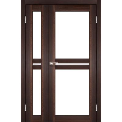 Межкомнатная полуторная дверь Milano ML-06 с белым стеклом