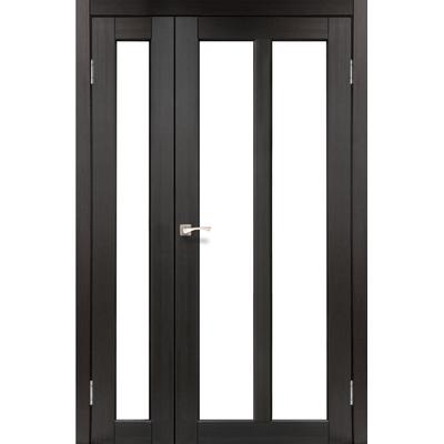 Межкомнатная полуторная дверь Torino TR-04 с белым стеклом