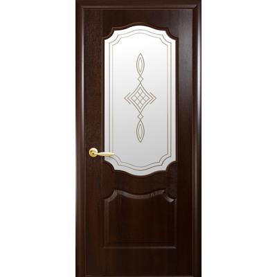 Межкомнатная дверь Вензель со стеклом сатин и рисунком