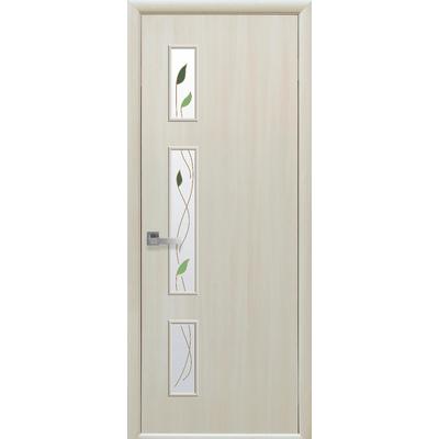 Межкомнатная дверь Герда со стеклом сатин и рисунком Р1