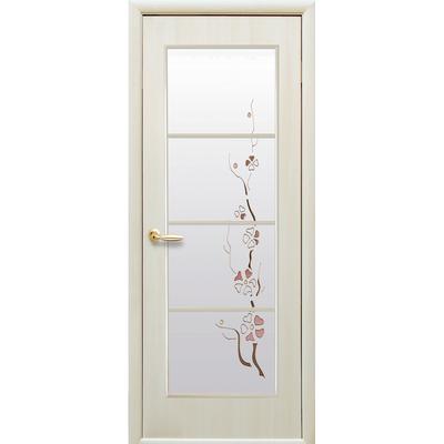 Межкомнатная дверь Виктория со стеклом сатин и рисунком Р1