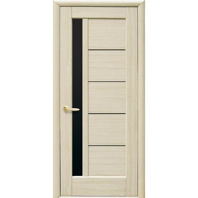 Межкомнатная дверь Грета с черным стеклом ПВХ Deluxe