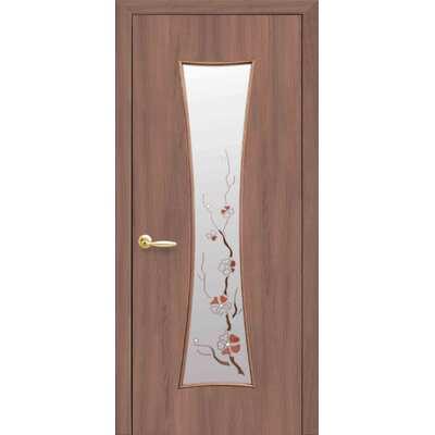 Межкомнатная дверь Часы со стеклом сатин и рисунком
