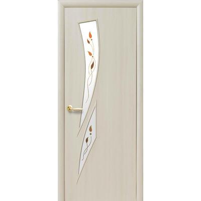 Межкомнатная дверь Камея со стеклом и цветным рисунком Р1