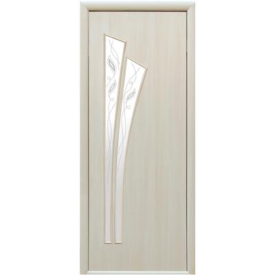 Межкомнатная дверь Лилия со стеклом сатин и рисунком Р1