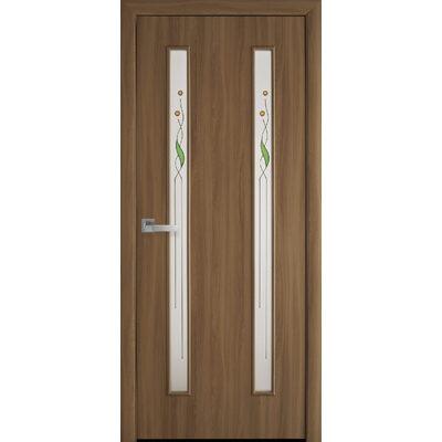 Межкомнатная дверь Вера со стеклом сатин и рисунком Р1