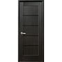 Межкомнатная дверь Мира с черным стеклом ПВХ Deluxe