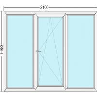 Металлопластиковое окно трехстворчатое Steko S300