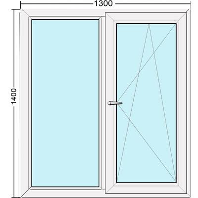 Металлопластиковое окно двустворчатое 1300х1400 мм Steko S300