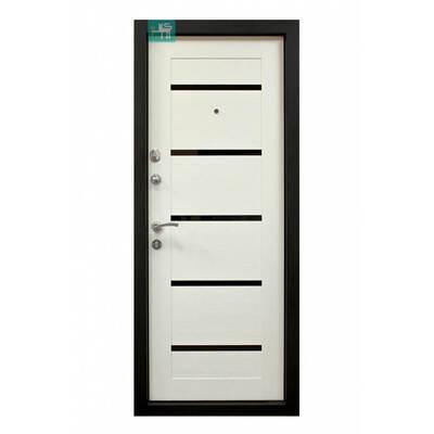 Входная металлическая дверь ПК-180/161 Украина МДФ/МДФ Венге горизонт тёмный/ Царга белая